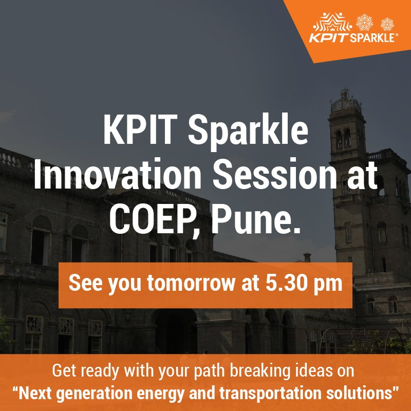 #KPITSparkle is coming to COEP Pune tomorrow. The session is open to all the nearby colleges. Hope to see you there.  https:// goo.gl/YqEiik  &nbsp;  <br>http://pic.twitter.com/RANtZCBBGI