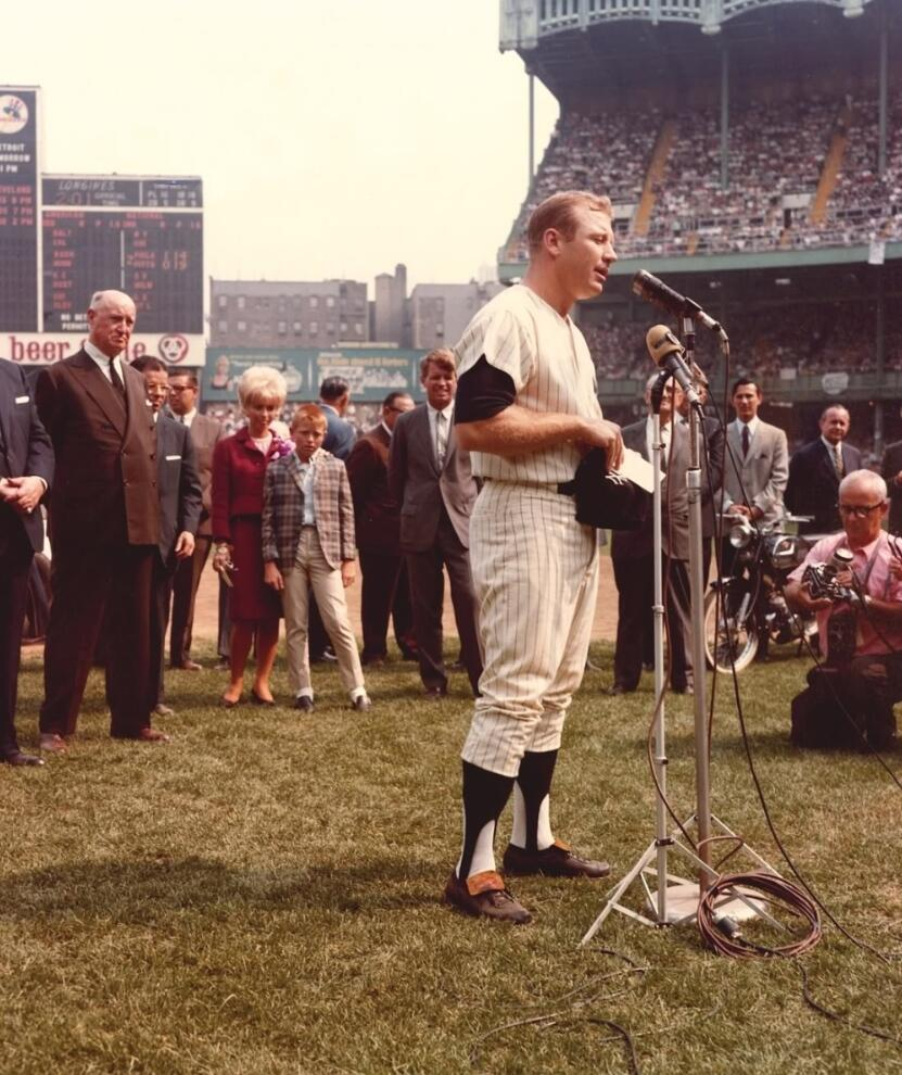 #OTD in 1965 the #Yankees hosted Mickey Mantle Day, on what was his 2,000th game. U.S. Senator Robert Kennedy can be seen behind the Mick.pic.twitter.com/ ...