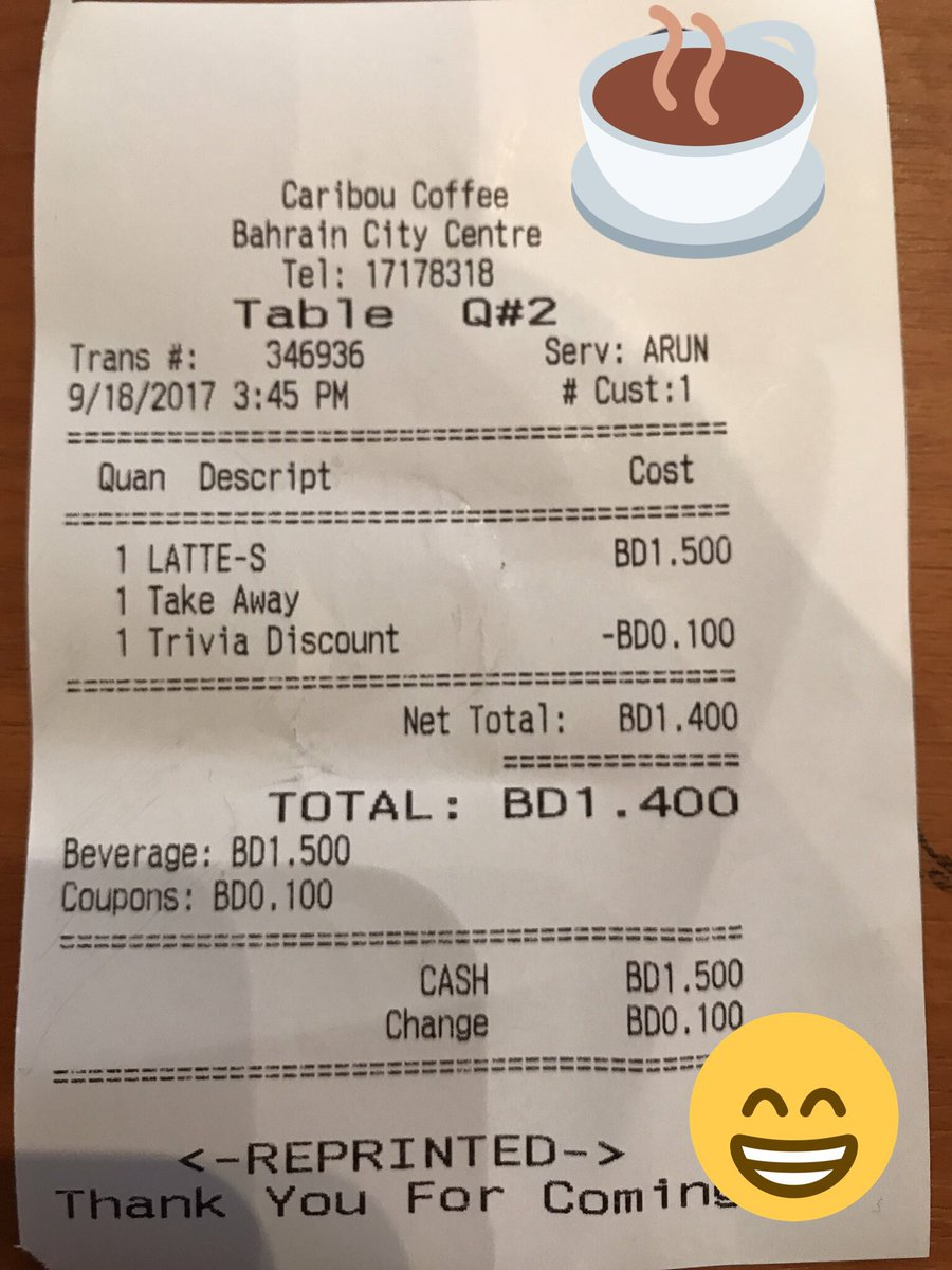 When you get a trivia discou t on your coffee! 😊😊😊 @CityCtrBahrain