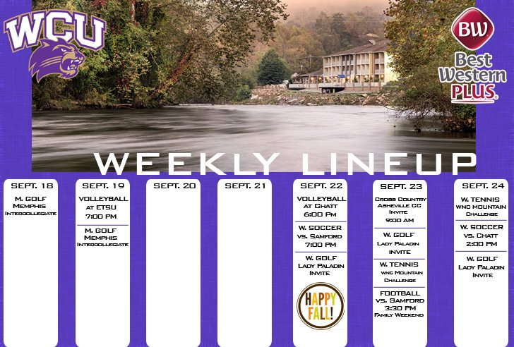 WCU Athletics Weekly Lineup (thru 9-24)