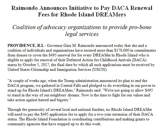 Wow: Rhode Island is going to pay for every DACA recipient's $495 renewal fee, @GovRaimondo announces. https://t.co/pHOnMG4gw2