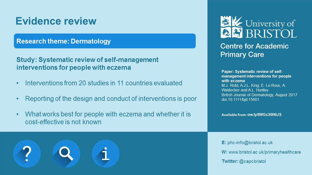New paper: #Systematicreview of self-management interventions for people with #eczema in @BrJDermatol @riddmj  http:// ow.ly/tWGz30f4lJS  &nbsp;  <br>http://pic.twitter.com/VZFJVBlkIc