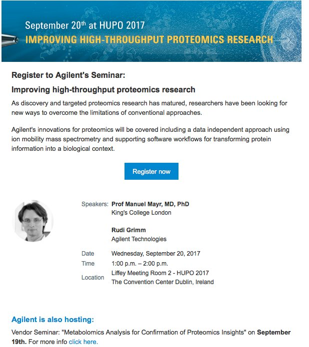 Register here for @Agilent's seminar: Improving high-throughput proteomics research https://t.co/WygHaj9bpd  #HUPO2017