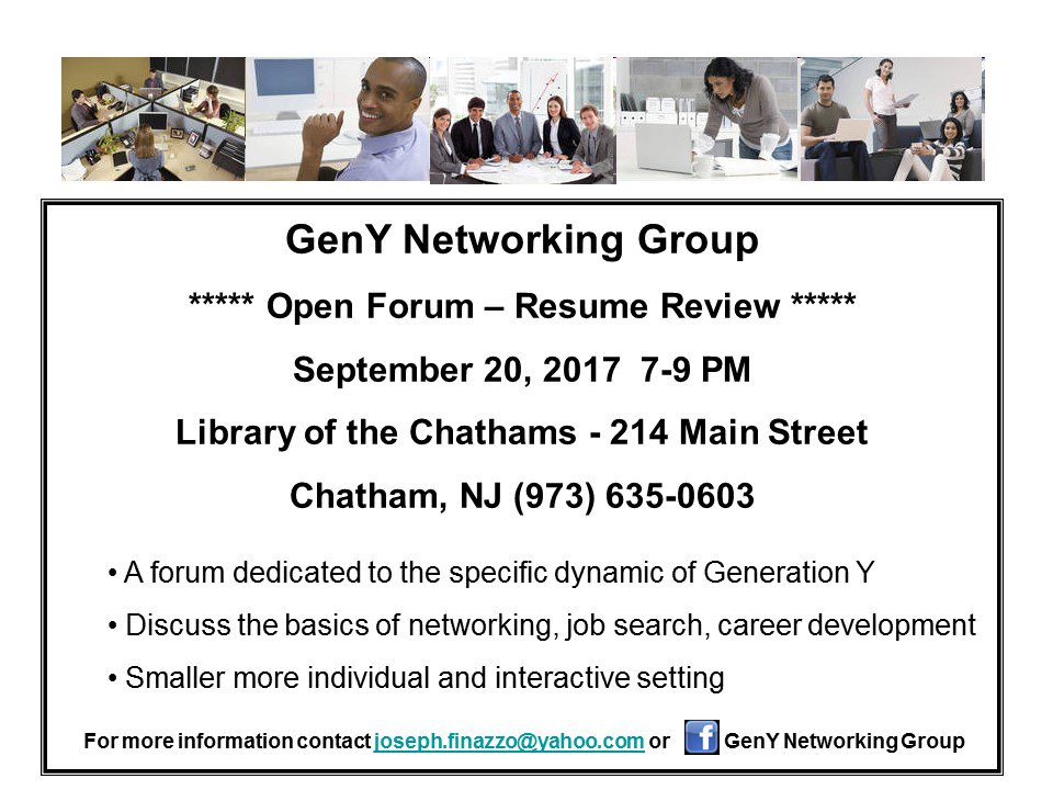 #GenY #NetworkingGroup #Wednesday #September 20 7PM hone your #ElevatorPitch #Networking #Interviewing #ResumeReview and #OpenForum<br>http://pic.twitter.com/tkijm4YImC