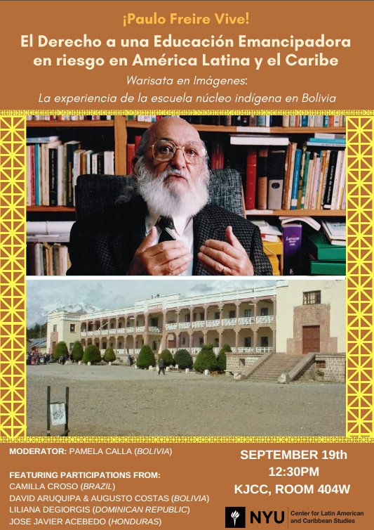 Join us tomorrow, Sept. 19 at 12:30 pm for a discussion about the theories of Paulo #Freire in practice in #Bolivia, #Honduras, and more!<br>http://pic.twitter.com/TBkrRZScix