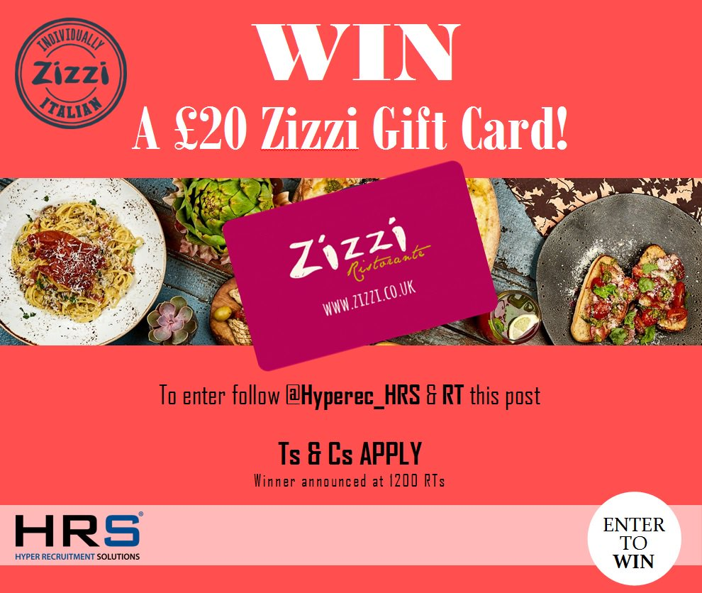 #Competition #giveaway #WIN a £20 Zizzi Gift Card! To be in with a chance, just RT and follow @Hyperec_HRS #food #eatingout #pizza #pasta<br>http://pic.twitter.com/COVRX1h5Zt