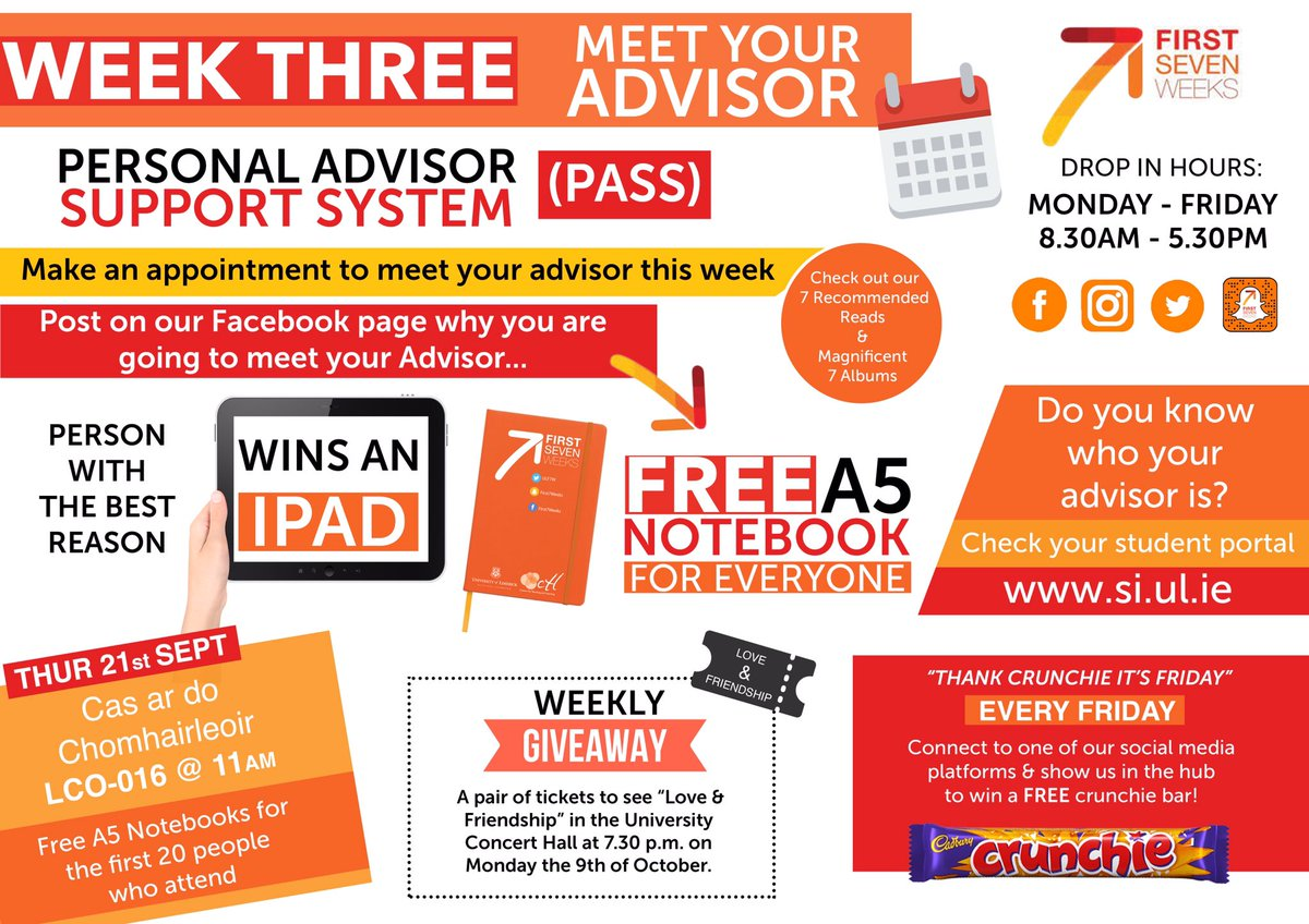 Everyone&#39;s got one, get to know yours during your #firstsevenweeksUL adventure, #ULadvisor #StudyatUL #advice #mentor<br>http://pic.twitter.com/h2pF5FH1jK