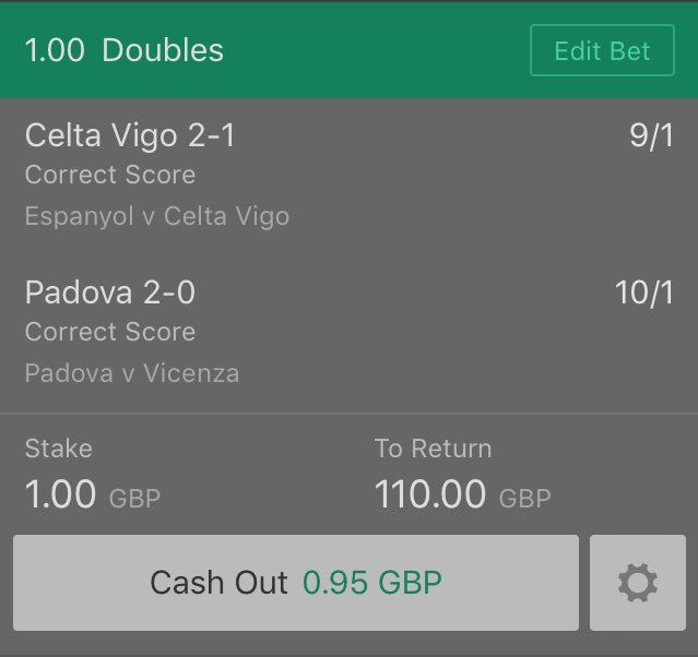 This is not a Challenge  This is not a Tip, it&#39;s just something I fancy.  Correct Score Double.  Kicks off 7:45pm.  #CeltaVigo  #Padova<br>http://pic.twitter.com/xrAJaF1g1c
