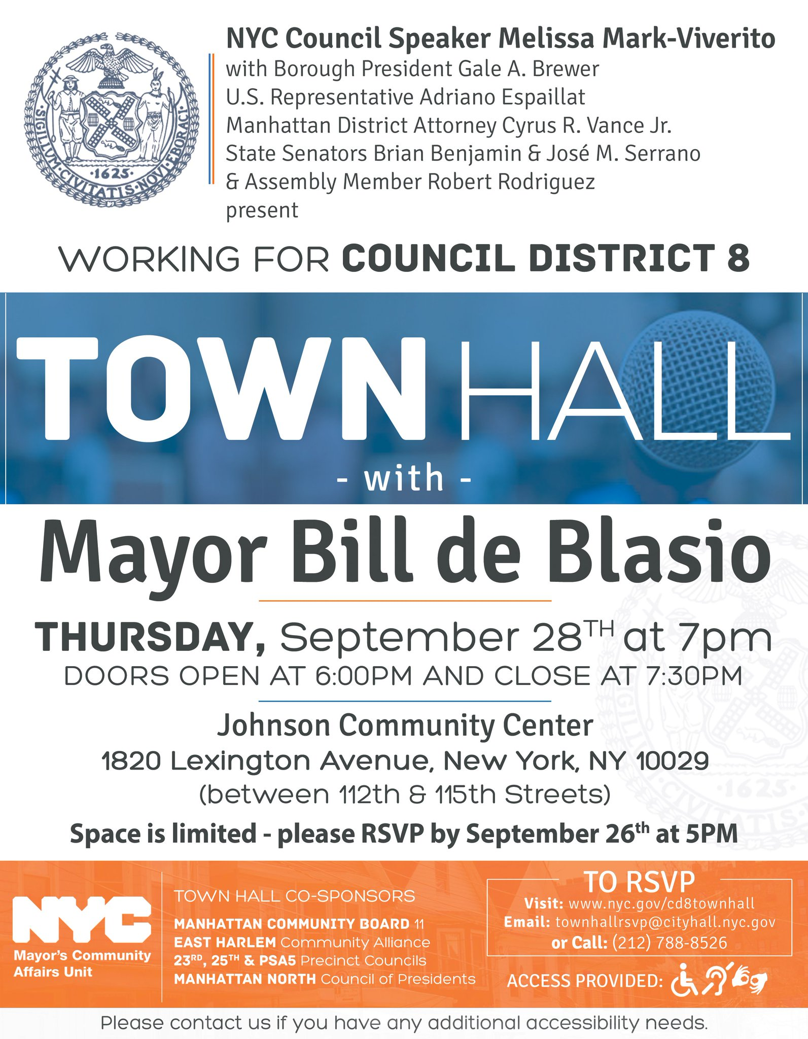 Town Hall with @NYCMayor in #EastHarlem #ElBarrio http://bit.ly/2x8YAMr Email townhallrsvp@cityhall.nyc.gov or Call (212) 788-8526