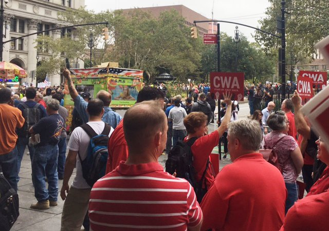 .@CWAunion members stand in solidarity w...