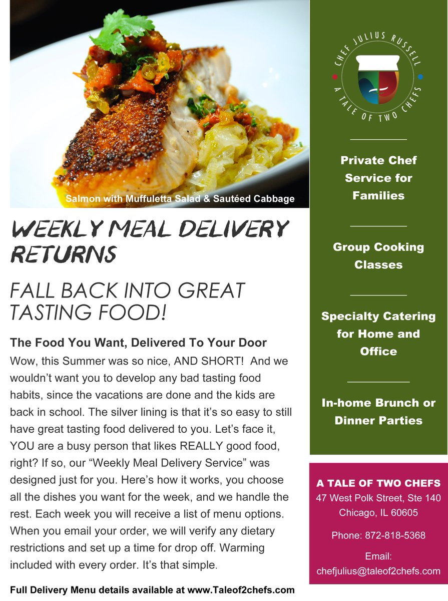 Chef Julius Russell On Twitter Weekly Meal Delivery Is Back Co