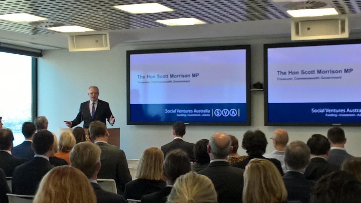 The Hon Scott Morrison MP, Treasurer, launching #impactinvesting @Social_Ventures  Diversified Impact Fund. Thanks @CreditSuisse for hosting<br>http://pic.twitter.com/KKXB2ijrOV