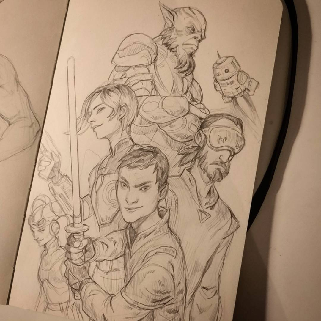 Fun evening composing some characters from star wars rebels! #starwars #starwarsrebels #jedi #sketchbook #pencil<br>http://pic.twitter.com/enuLfoXLBY