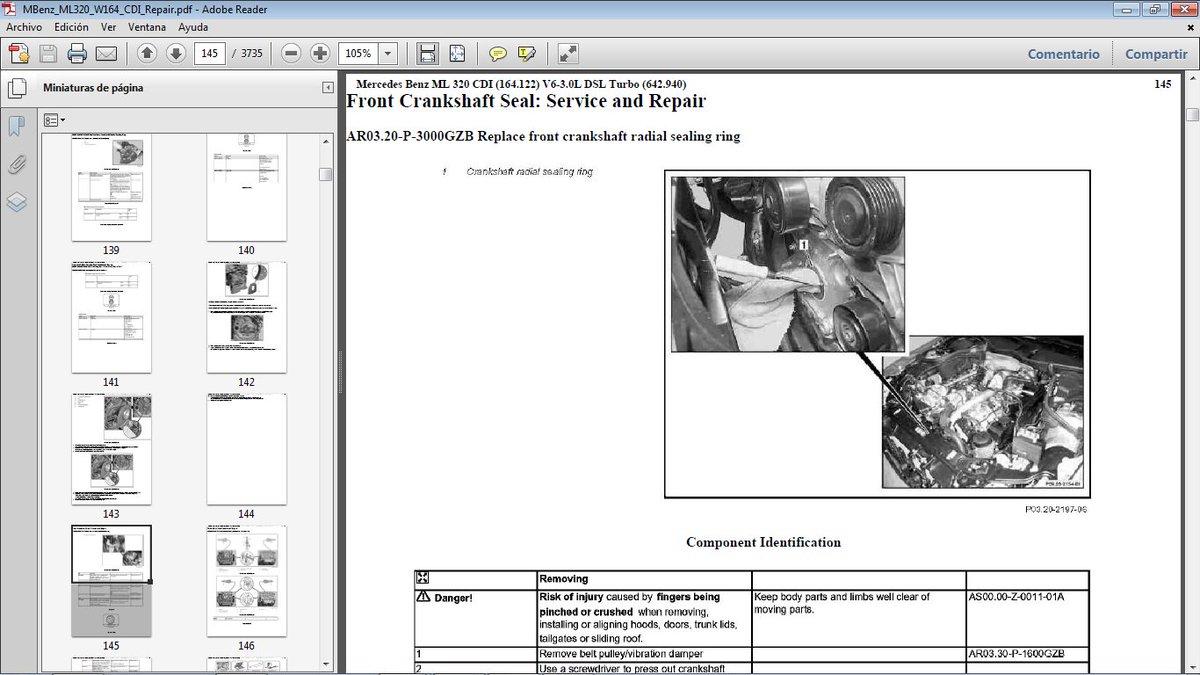 "rodolfo d. on Twitter: ""MERCEDES BENZ ML320 CDI W164 motor OM642 Diesel.  Manual de Taller en pdf. [emailprotected] #MercedesBenzW164 ..."