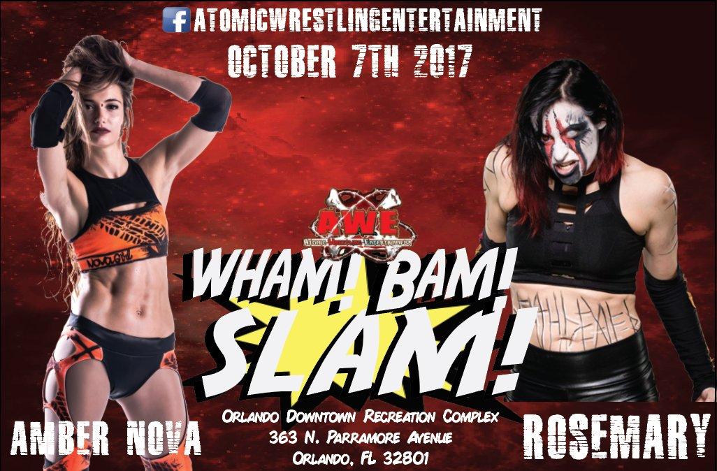 Sat Oct 7th at @WrestlingAtomic in Orlando FL it&#39;ll be @WeAreRosemary vs. @Nova_Girl1973 #AWE #NewFaceOfEXTREME<br>http://pic.twitter.com/DgbmOKqbMF