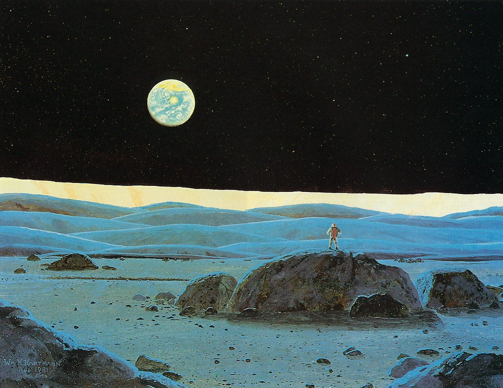 An astronaut on the Moon looks homeward to Earth, painted by planetary scientist William K. Hartmann in 1981. #space #sciart <br>http://pic.twitter.com/EUq0Wp4pR4