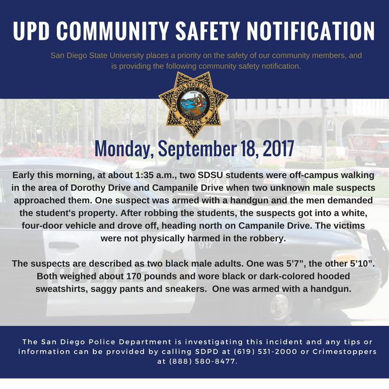 SDSU Police on Twitter: