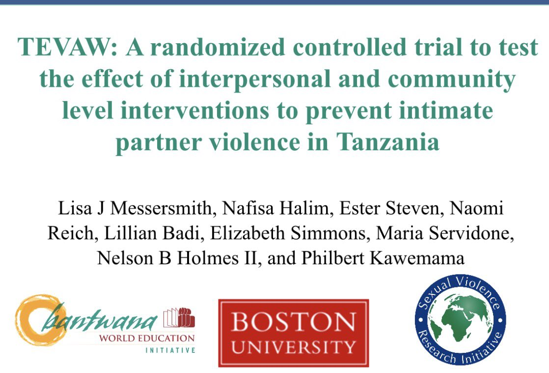 #ipv prevention by targeting couples w/ #gender &amp; #poverty reduction programs: feasible, acceptable &amp; effective in #Tanzania #BUSPH #RCT #BU<br>http://pic.twitter.com/4E2T9jsDDz