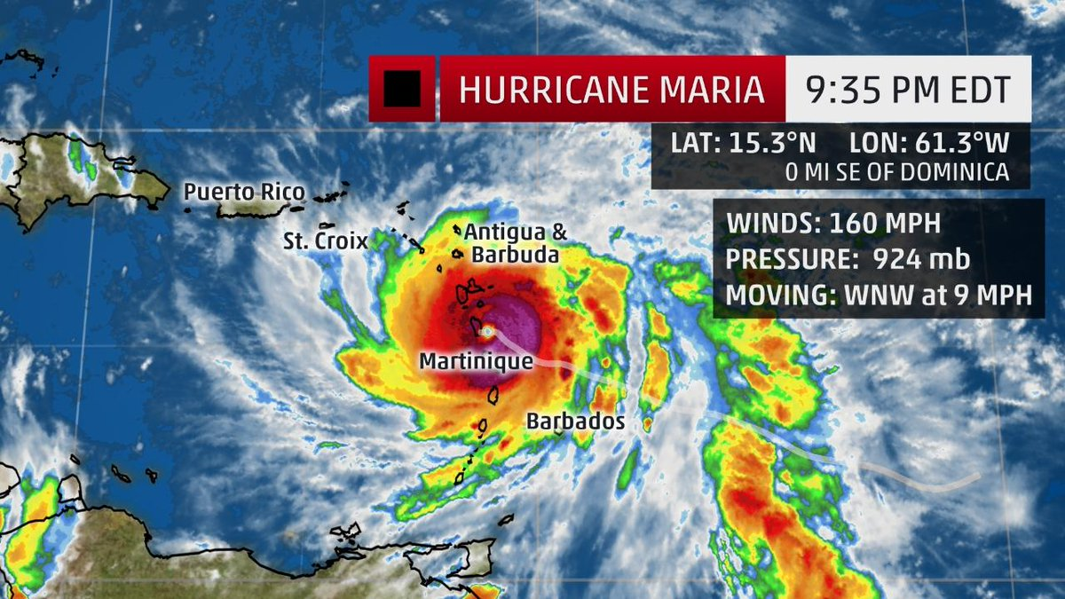 BREAKING: Hurricane #Maria makes landfall in Dominica as a Category 5...