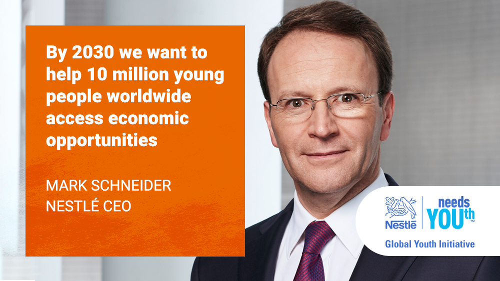 Our CEO, Mark Schneider, has announced our global youth initiative @UN: https://t.co/d3tCCdWp9s  #NestléneedsYOUth https://t.co/jO3UQsHe6R