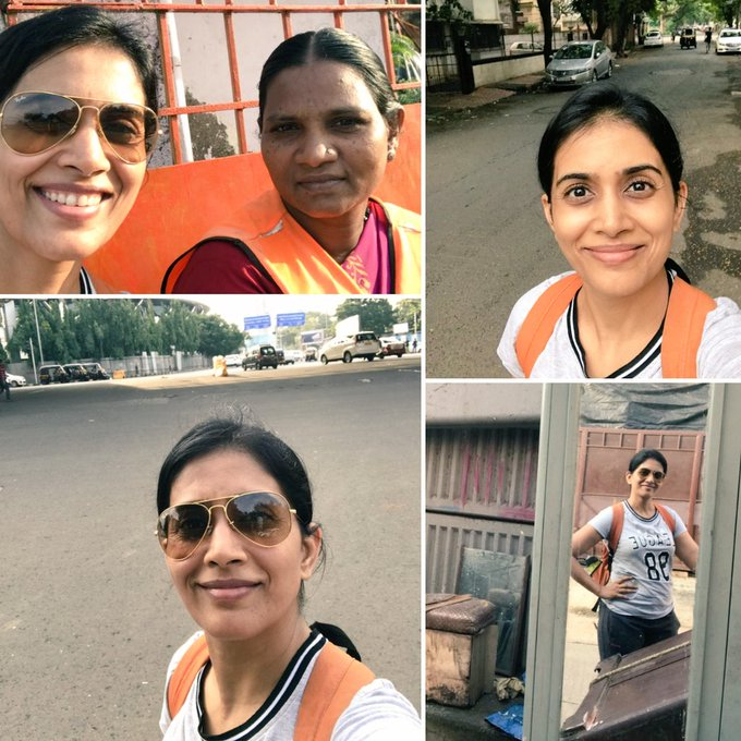 Cleaning officer Bana-still has a smile after her sweeping work👍Completed my 6km walk-a sensible break from d AC gym😋 #morningwalk #Mumbai https://t.co/S6NvFDYdKc