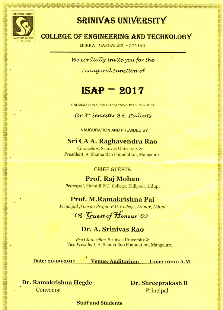 #SUCET #Mukka #Mangaluru cordially invite u for #ISAP, Series of 400 plus #Technical #Seminars in 1 Day to enhance #Skills of Engg #Students<br>http://pic.twitter.com/zRErMDciWk