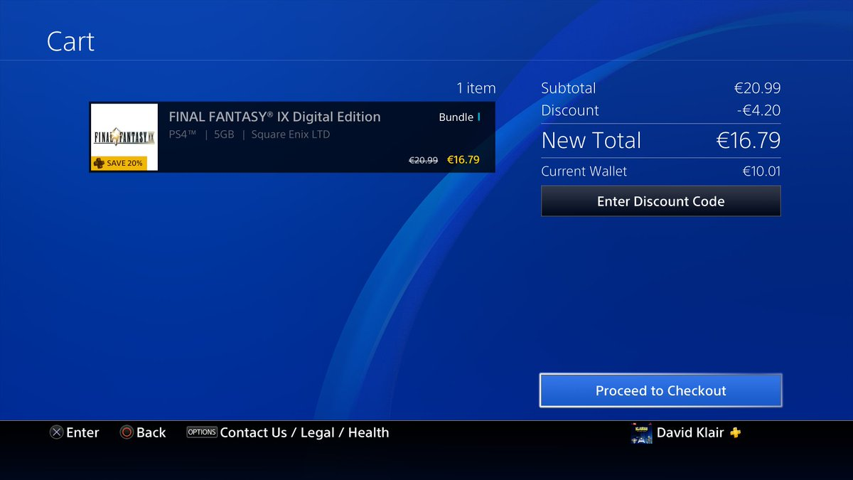 "Klair88 on Twitter: ""Final Fantasy IX HD live on PSN Store EU. €20.99 or  €16.79 with PS+ #PS4share… """