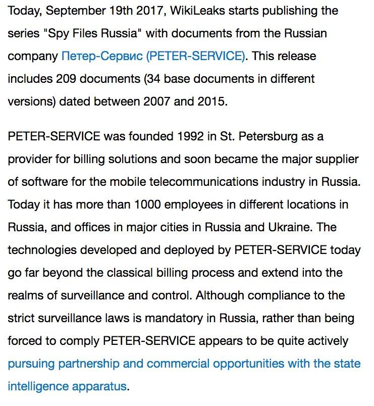RELEASE: Spy Files #Russia: PETER SERVICE https://t.co/MI4GBGrIGU #SORM #FSB sotrm.j