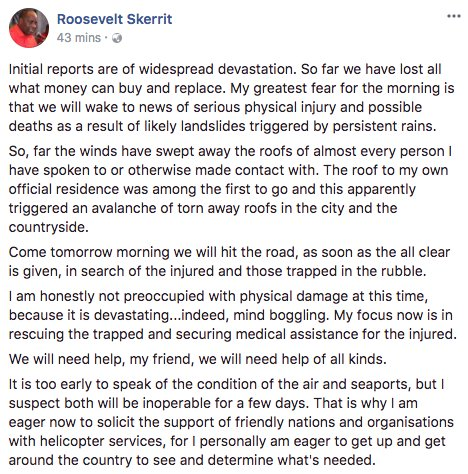 Frightening post from the prime minister of Dominica, Caribbean island nation just hit by category 5 Hurricane Maria https://t.co/otL8FepcWy