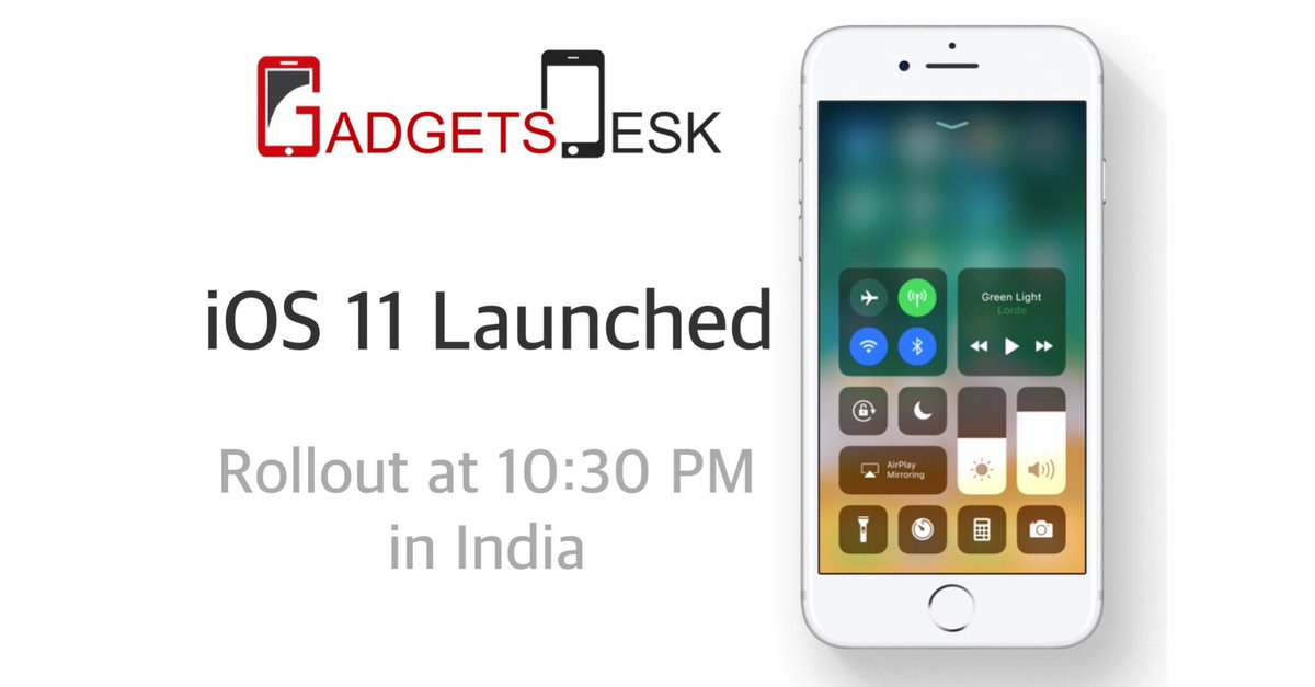 iOS 11 Launched Rollout starts at 10:30 PM IST  #iOS11 #Apple #India #news #tech #gadgets #GadgetsDesk #release<br>http://pic.twitter.com/MMPw7jozBJ