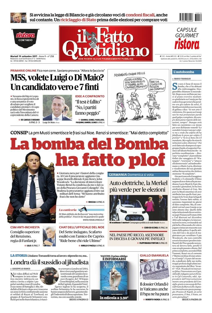 LA BOMBA DEL BOMBA HA FATTO PLOF continua su: https://t.co/Zg7CjPLPQP #FattoQuotidiano  #19settembre #Consip #Renzi