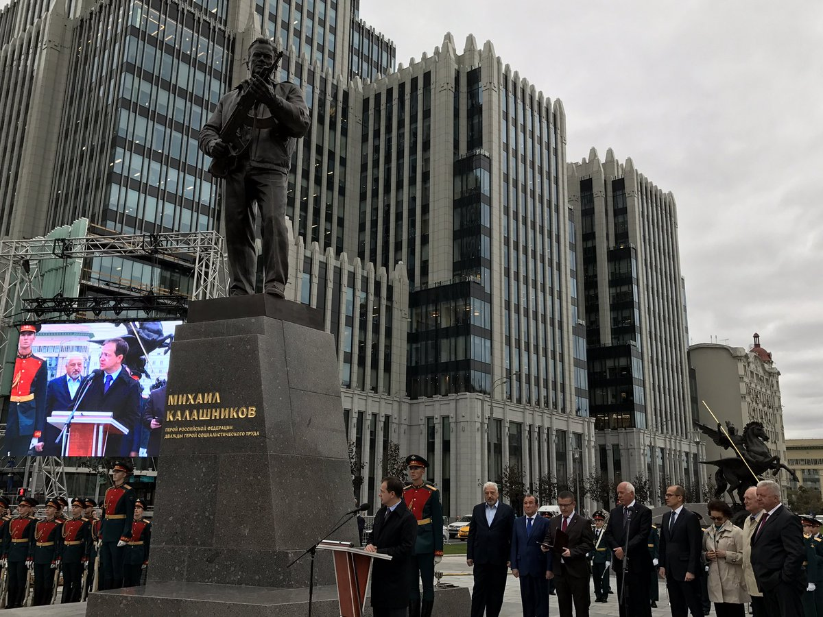 Moscow unveils a statue to Mikhail Kalashnikov, father of the AK-47. 'It's Russia's cultural brand,' says culture minister @medinskiy_vr