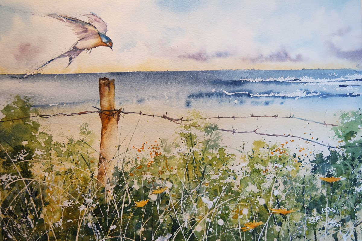 One swallow does make a summer  #PaintSeptember #watercolour #wildlife #seascape #wildflowers #landscape #birds #BIGARTBOOST #paint #swallow<br>http://pic.twitter.com/XCPcvlwst7