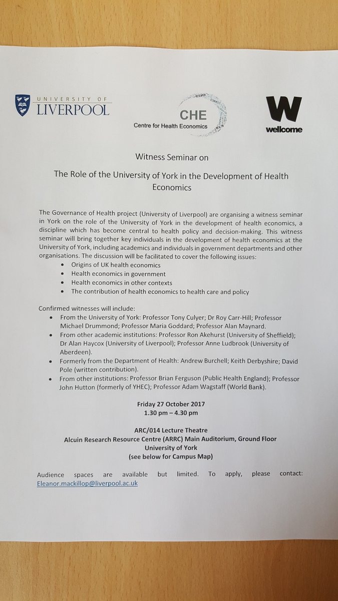 Witness seminar on #history #healtheconomics @che fri 27 oct contact me for audience spaces<br>http://pic.twitter.com/YLOMJEr4qg