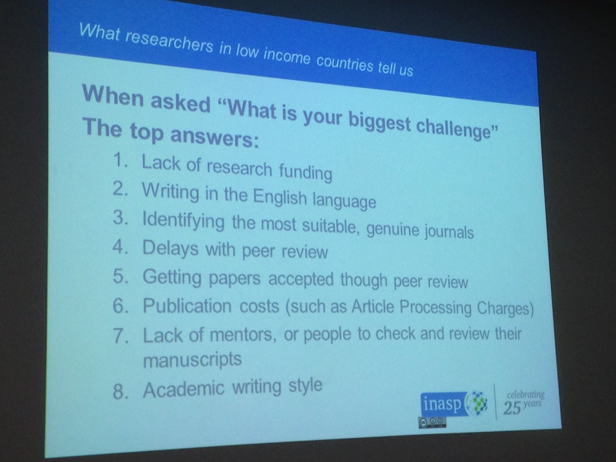 The biggest challenges for researchers from developing countries @BEonthetoilet @INASPinfo #gcrf @rcuk<br>http://pic.twitter.com/3JxkoReMYW