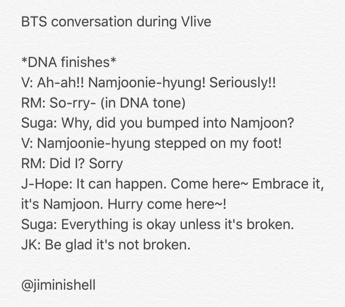 BTS conversation over RM stepping on V\'s foot during Vlive 😂  Video cut 달찜님👇