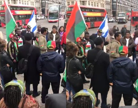 IPOB members are currently protesting in London ahead of Buhari's visit against that military occupation/killing of unarmed civilians, IPOB members
