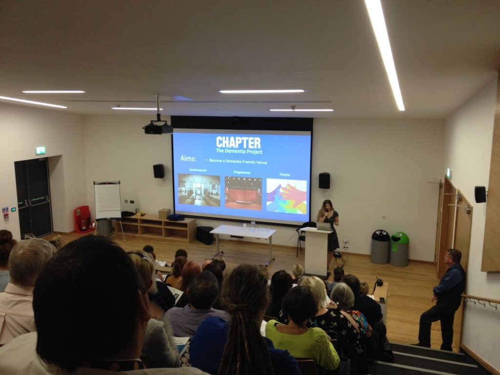 Ellie talking about the #dementia awareness day at @chaptertweets at #age-friendly culture network event <br>http://pic.twitter.com/AQ2tH7dQI6