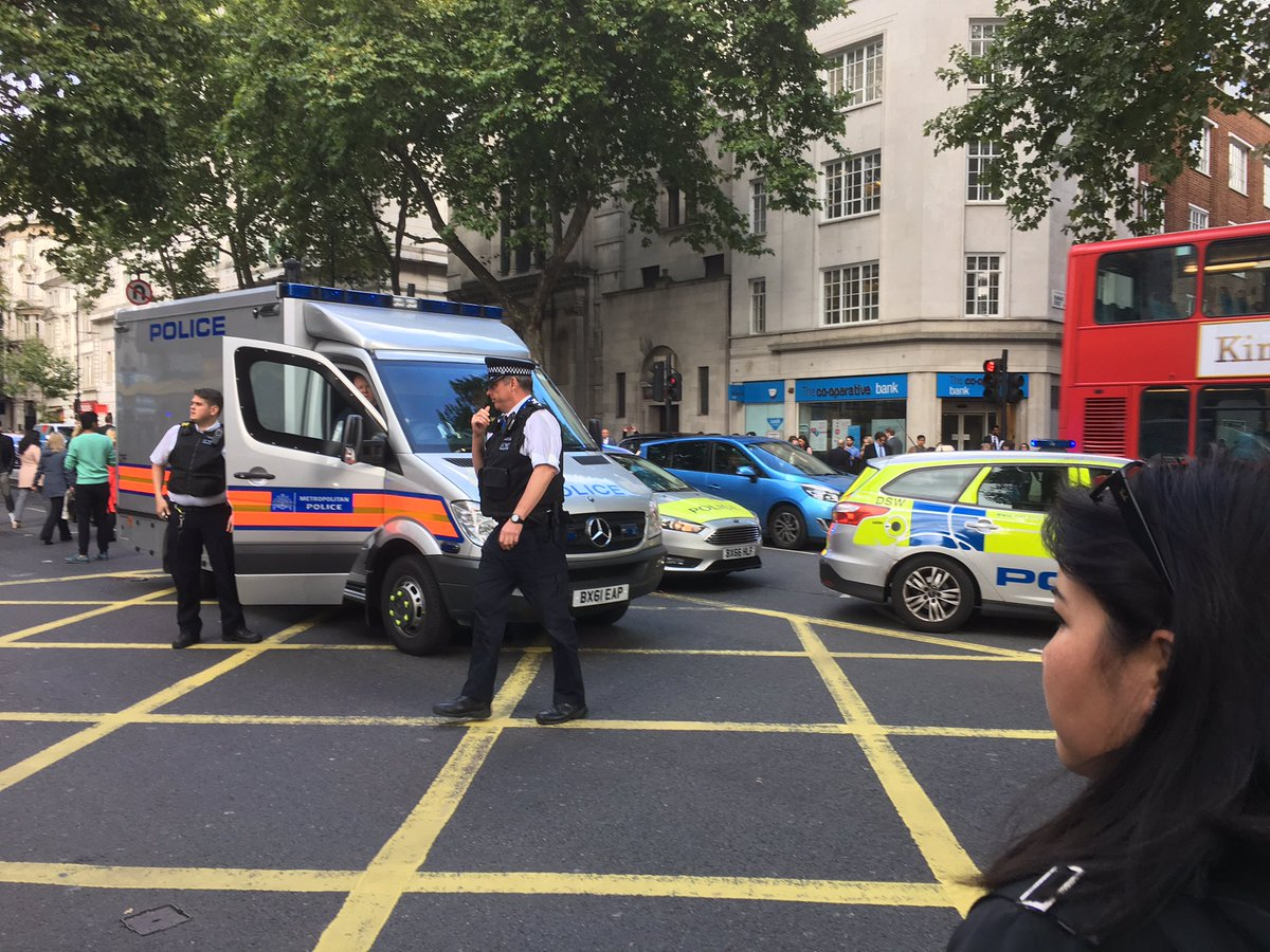 Police are investigating a suspicious package near London's Holborn underground station