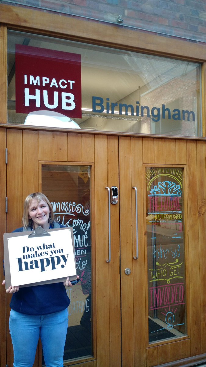 @Kat_Evolve of @Evolve_Impact  Miss.Positivity at @ImpactHubBrum - what makes you happy? #PMA #positivementalattitude #wellbeing<br>http://pic.twitter.com/EZlcwmXtto
