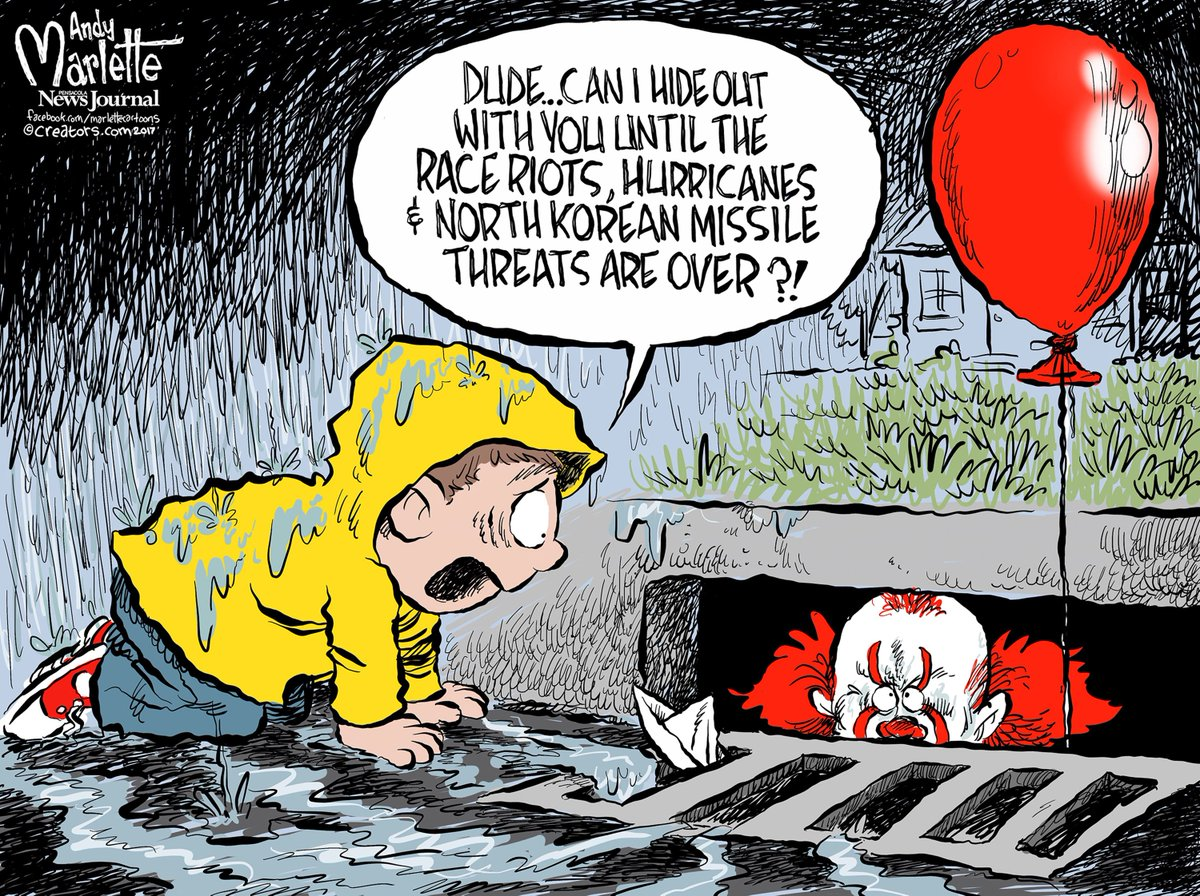 Real life can be scarier than the movies, @AndyMarlette says.  http:// usat.ly/2eoGdI8  &nbsp;   #hurricanes #NorthKorea #protests #ITMovie<br>http://pic.twitter.com/cvq3nWckmy
