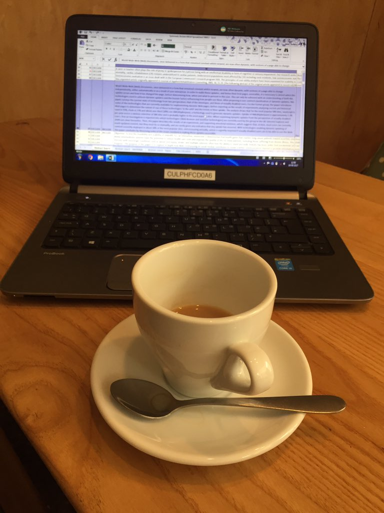 Systematic reviewing - powered by tea! #PhDChat #SystematicReview #Tech #OlderPeople<br>http://pic.twitter.com/9DKbavMmP7