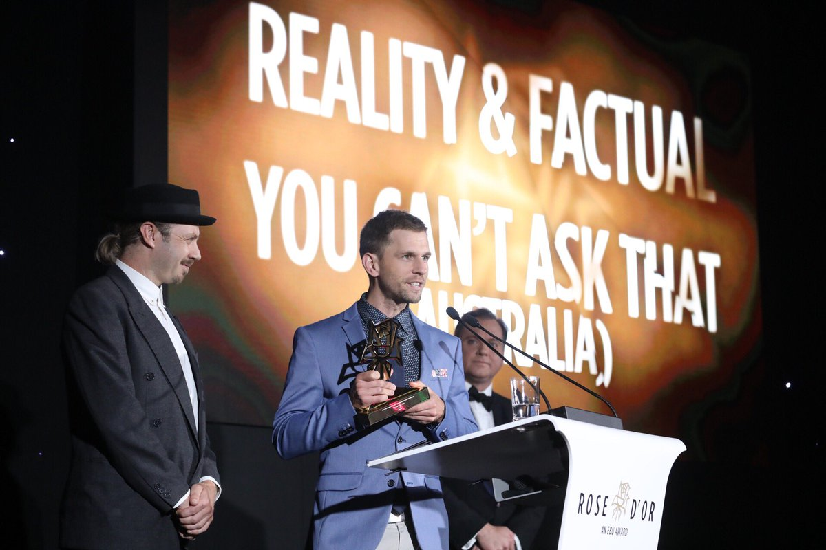 "The winner of best REALITY &amp; FACTUAL ENTERTAINMENT #RDO17 is #Australia&#39;s ""You Can't Ask That"". Good on ya @ABCTV!<br>http://pic.twitter.com/bAhnPSOP5E"