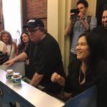 Oscar-winning documentary legend Barbara Kopple joined me in serving up the Ben & Jerry's  after the show. I'm on B'way til Oct 22. Come!!