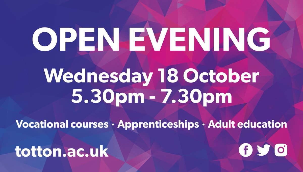*Next Open Evening* -join us Wed 18 Oct 5.30-7.30pm meet the teachers, look around the college &amp; find out more about our #vocational courses <br>http://pic.twitter.com/F0gFxi7eZ9