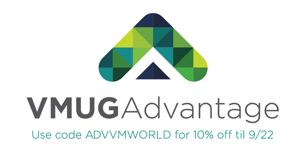 It&#39;s not too late to get your #VMworld discount for 10% off #VMUGADVANTAGE using code ADVVMWORLD! Hurry - Expires this Friday 9/22<br>http://pic.twitter.com/n8nbcL24Is