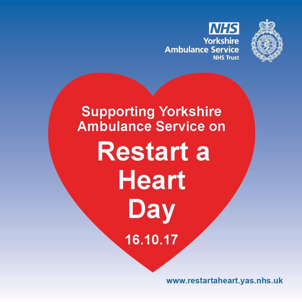 Proud to support @YorksAmbulance which will provide CPR training to 25,000 youngsters on #RestartaHeart Day ❤️ https://t.co/TnV8lAkbdv