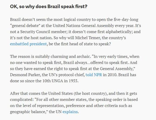 Forgive me Twitter for my ignorance, but the reason why #Brazil always speaks first at the #UNGA  has blown my mind<br>http://pic.twitter.com/oHRsq4y4rR