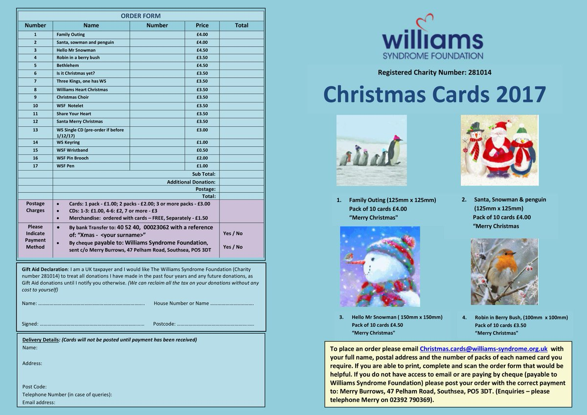 Williams syndrome uk on twitter congratulations to our three williams syndrome uk on twitter congratulations to our three christmas card competition winners the christmas card brochure is now available and we are negle Image collections