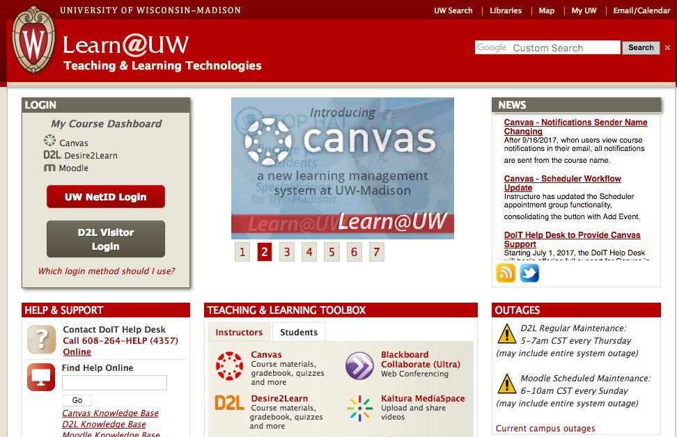 Uw Madison Doit On Twitter Some Problems With Learn Today You Can Access Canvas Courses From Https T Co Vloxbycte4 D2l